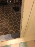 This is the badly damaged bathroom door frame