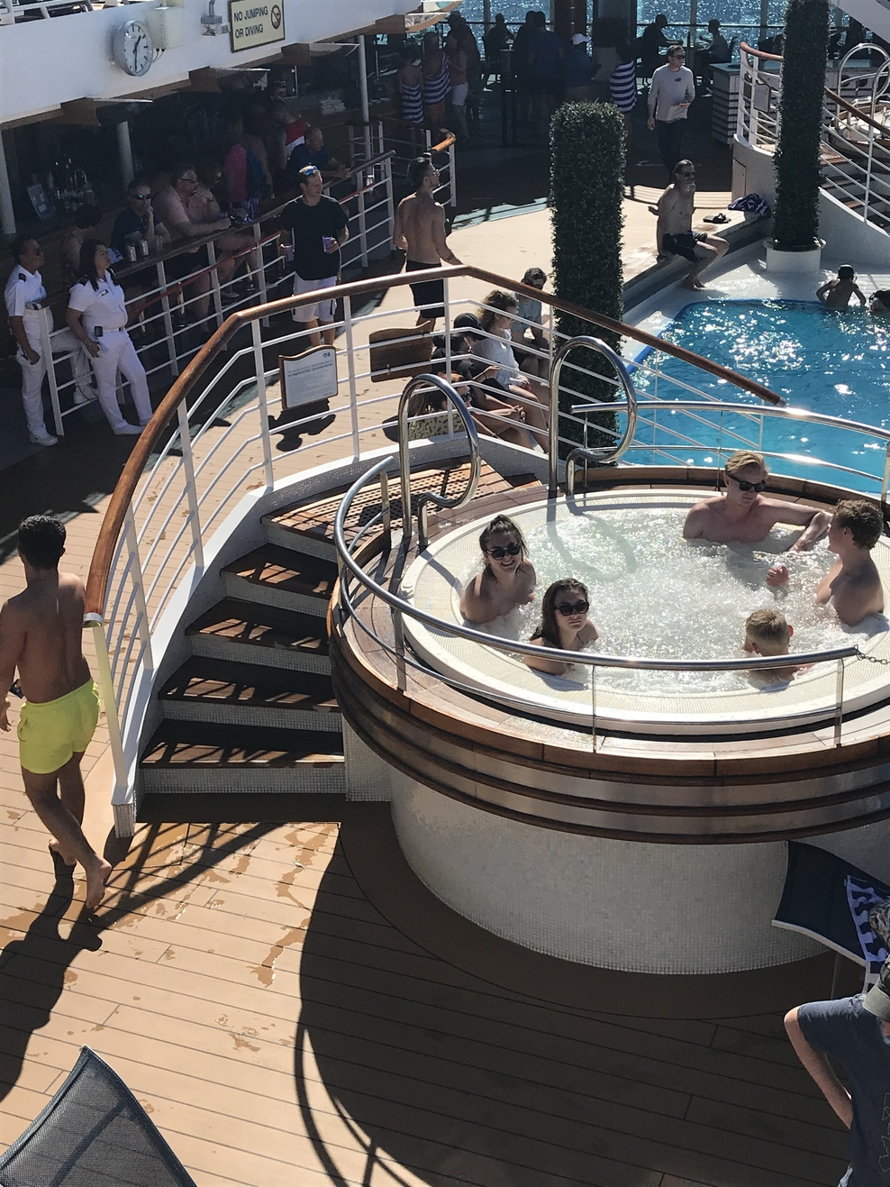 This is one of the hot tubs. We enjoyed them. Not too hot  But busy with kids