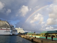 We saw two magnificent rainbows on this ship.. This one was  Leaving Nassau, Bahamas.. Everything about our trip was beautiful. And we had so much fun and so Bahamas we highly recommend Senior Frogs, fat Tuesday, and  If you