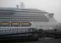 Radiance of the seas on a foggy morning in Juneau
