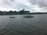 Meeting fo the waters in of the Amazon and Tapajos Rivers near Santarem, Br