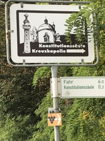 Road sign for Constitutional Column celebrating 10th anniversary of 1818 Ba