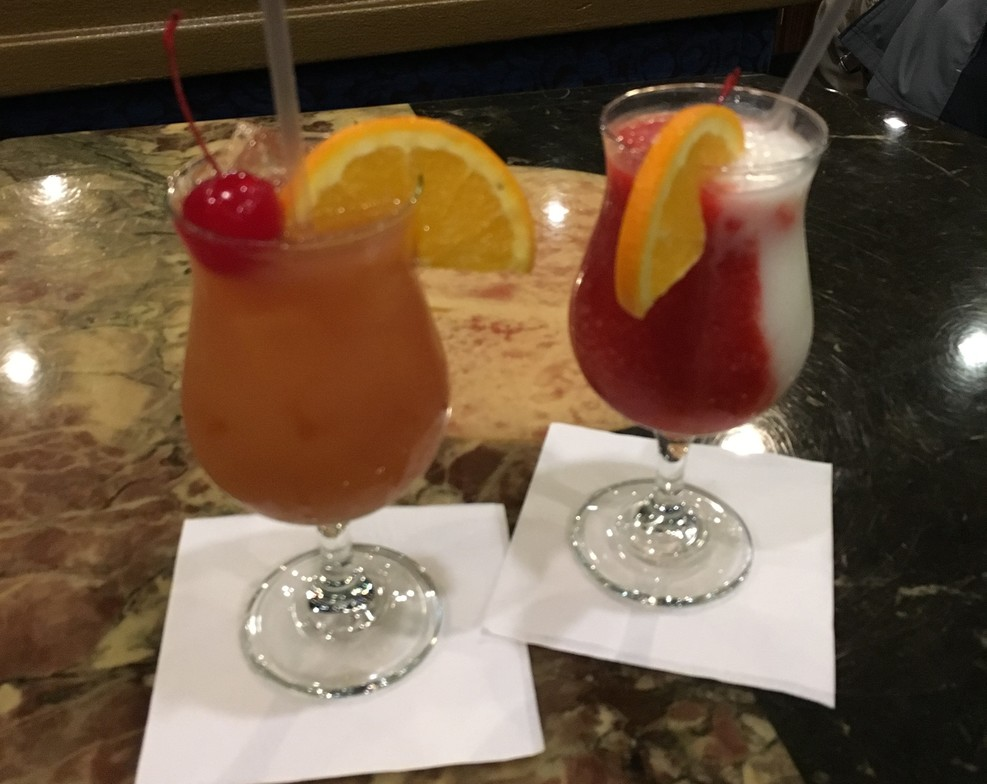 Pirate punch and Miami vice, in the Blue Sapphire lounge.