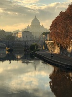 Sunset Rome view of Saint Peters Vatican