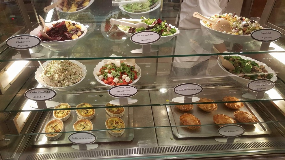 Another sampling of offerings at the Cafe. A fine selection of salads, pot pies, meat pies, and paninis. They do warm the pies and paninis. A word of advice, it does get quite busy there, especially on sea days