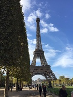 Beautiful Fall day at the Eiffel Tower on the day we boarded the Viking Kadlin for the cruise on the Seine our to the beaches of Normandy.