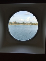 Porthole in cabin.