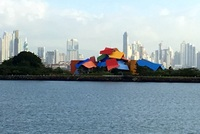 Entering the Panama Canal - This is the museum at the entrance with Panama