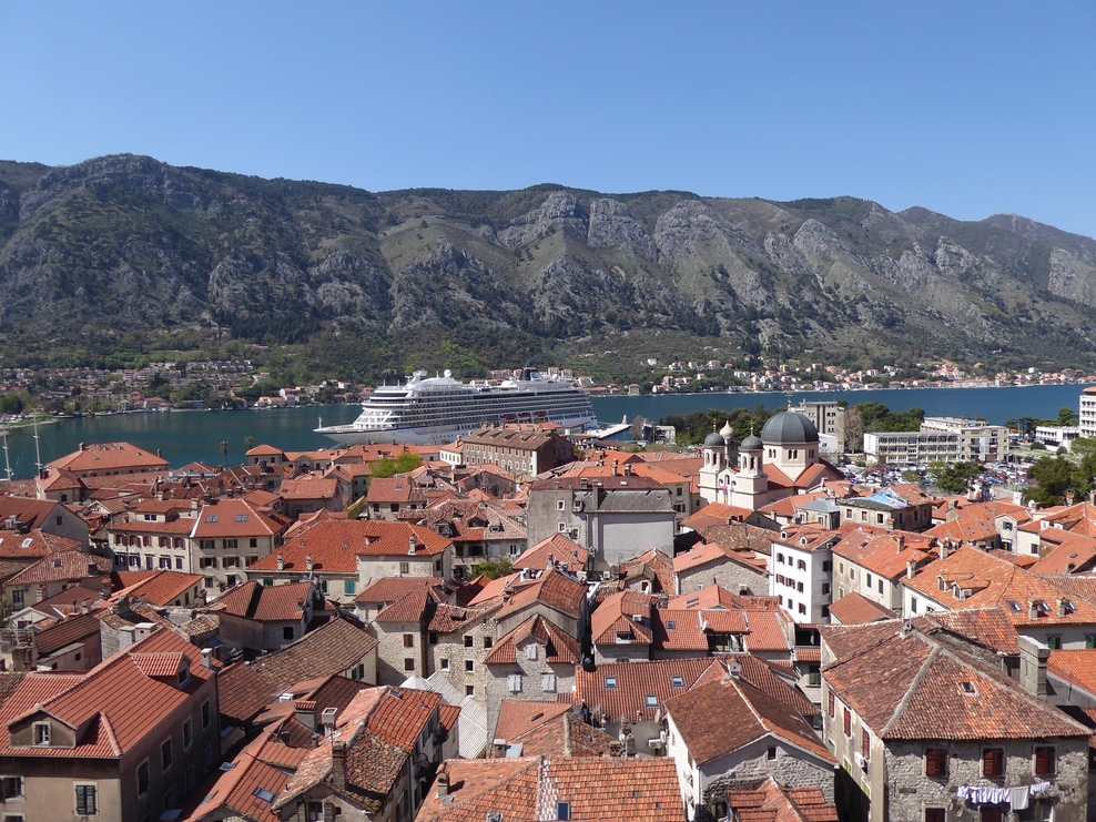 Viking Sea docked in the beautiful harbor of Kotor, Montenegro.