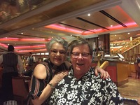 Enjoying our last dinner on board. such a fun cruise, we're going again