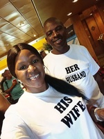 mr and mrs Ngcobo on the last day of the cruise, on our way to the receptio