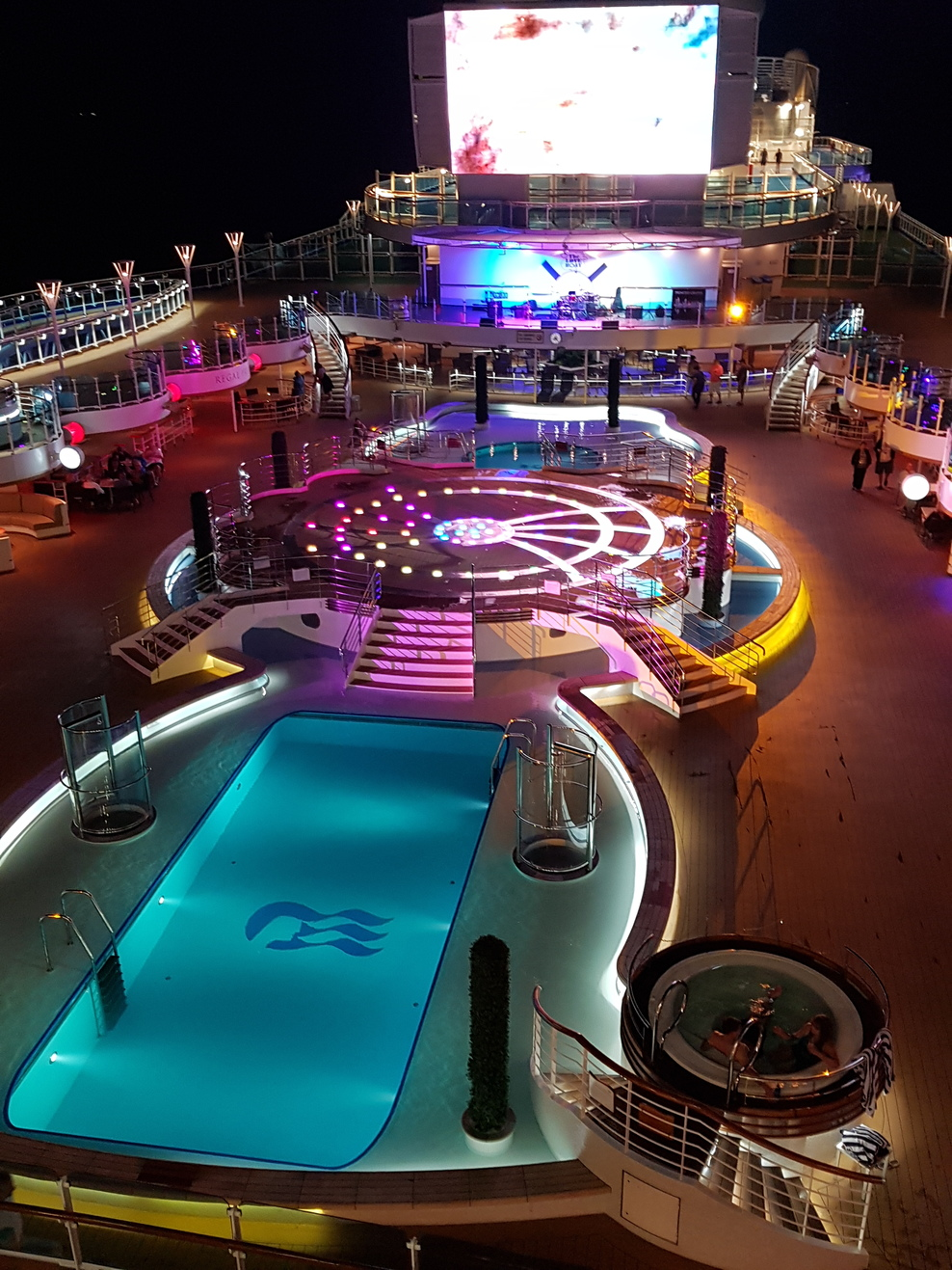 Beautiful pool deck at night!