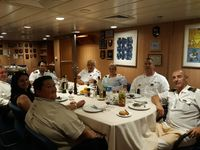Eating lunch with captain and head officers