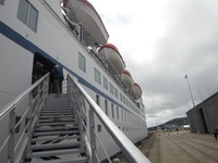 Steep step ramp to disembark