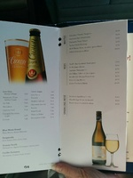 Part of the drinks menu on Golden Princess