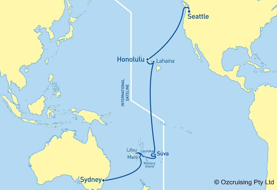 Cruise route and ports-of-call.