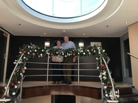 The main stairway on our ship decorated for Christmas