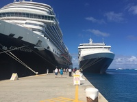 The Veendam docked next to the Koningsdam at Grand Turk