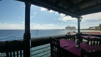 This is a photo of the boat from a restaurant in Curacao