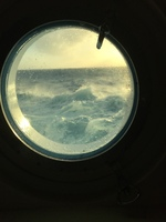 A view from our porthole on a rough sea day.
