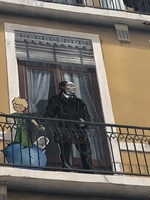 Faux painting on a building; St Exupery and Le Petit Prince,