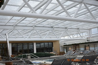 Viking Sky pool area with indoor cover in place