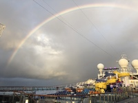 Rainbow over the Carnival Glory - looking at the water slides.