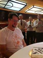 Me on my birthday 12 Feb receiving my birthday cake from MSC SINFONIA in the restaurant