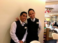 Our wonderful waiters Yudhi and Haris -- the best!