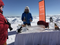 Champagne party on ice flow on the Wendell Sea.