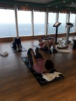Early morning gym session overlooking the ocean to get rid of all the yummy buffet food we had yesterday!