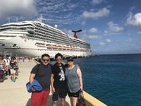 Wife and boys getting off of ship to start our day in Cozumel
