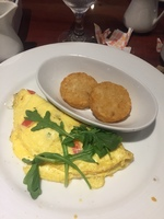 Sea Day Brunch omelet and hash browns