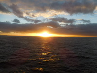 Photo taken from our cabin at sunrise on the trip to Auckland