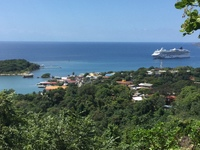 Roatan - with the Dawn in the bay. - Tender port.   ( pic is up side dn?)