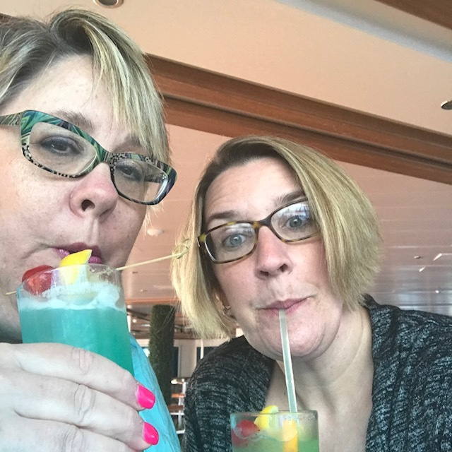 My friend and I having another frozen drink!