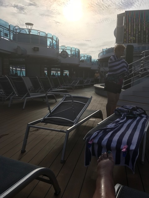 Early morning deck chair grab!