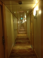 A photo, taken sideways of the long corridors back to our room