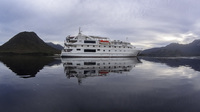 The Coral Discover anchored at Port Davey on Tasmania's South West coast