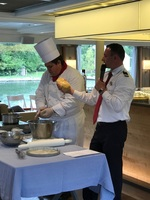Cooking demonstration on board