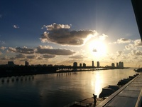 Sunrise while arriving to port of Miami on last day of cruise. Beautiful!!