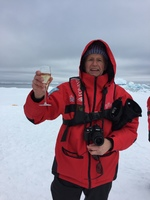 THIS WAS WHEN WE LANDED ON A ICEBURG AND HAD A CHAMPAGNE TOAST