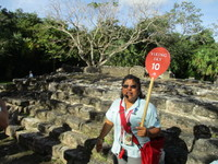 Excellent tour guide Margarita at the Mayan San Gervasio Ruins in Cozumel,