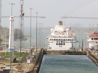 The Island Princess sneaked in front in the Panama Canal