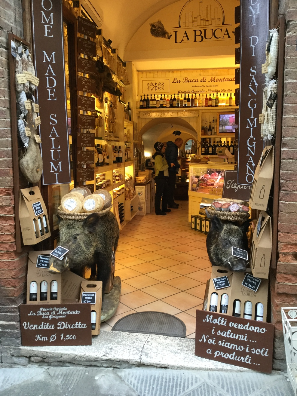 Butcher shop in Siena, Italy.