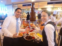 Ernest and Nena in Ocean View Cafe with chocolate fountain