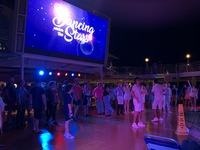 Dancing under the stars on the pool deck.  Was not very good.  Very dated!