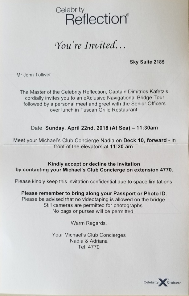 Invite for Captains luncheon