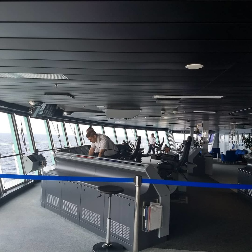 The Bridge of the ship. We did the tour and were able to see a lot of the a