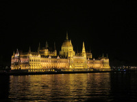 The beautifully lit Budapest Parliament building as seen when we entered Bu